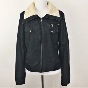 Faux Black Leather Bomber Jacket w/ Sherpa Collar